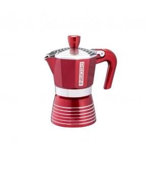 CAFFETTIERA 1 3 6 TAZZE IN ALLUMINIO EN 605 FINO 210 C PEDRINI INFINITY PASSION ROSSA