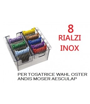 RIALZI 8 PZ IN ACCIAIO INOX WAHL PER TOSATRICI WAHL , OSTER , ANDIS ,MOSER , AESCULAP , GEIB